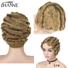 Wig Human-Hair-Wigs Short Finger-Wave Women Brazilian Black/white HANNE for 6-Inches