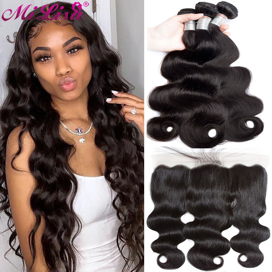 10- 30 inch Body Wave 3 Bundles With Frontal Closure Human Hair Weave Remy Peruvian Hair 13x4 Lace Frontal With Bundles Mi Lisa