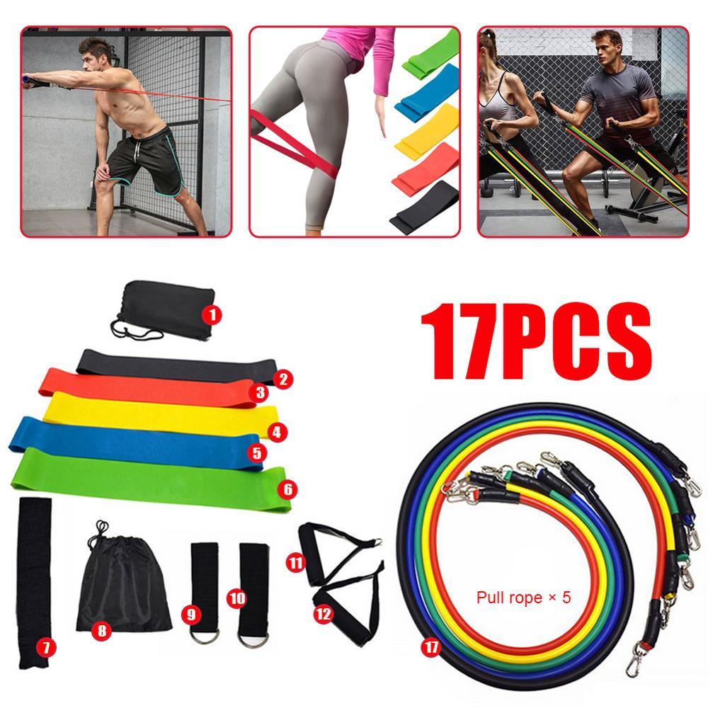 New 17Pcs Resistance Bands Set Yoga Exercise Fitness Band Rubber Loop Tube Bands Gym Fitness Exercise Pilates Yoga Brick| |   - AliExpress