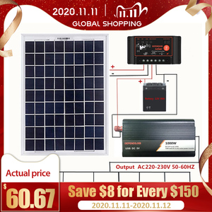 12V/24V Solar Panel System 18V 20W Solar Panel 40A/50A/60A Charge Controller 1000W Solar Inverter Kit Complete Power Generation