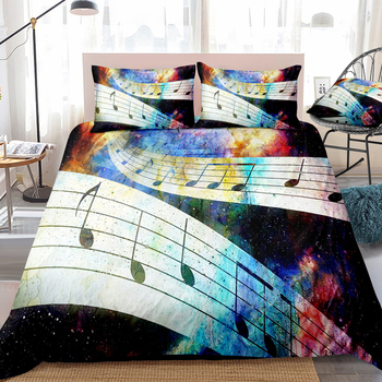 3D Music Note Printed Bedding Set Polyester Pillowcase Duvet Cover Sets 2-3pcs Home Textile Family Bed Sets