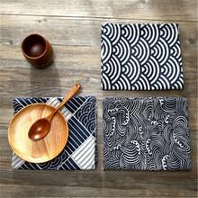 Cotton and linen hot gold fabric wave plaid pattern burlap fabric sofa hug pillowcase tablecloth photo background cloth