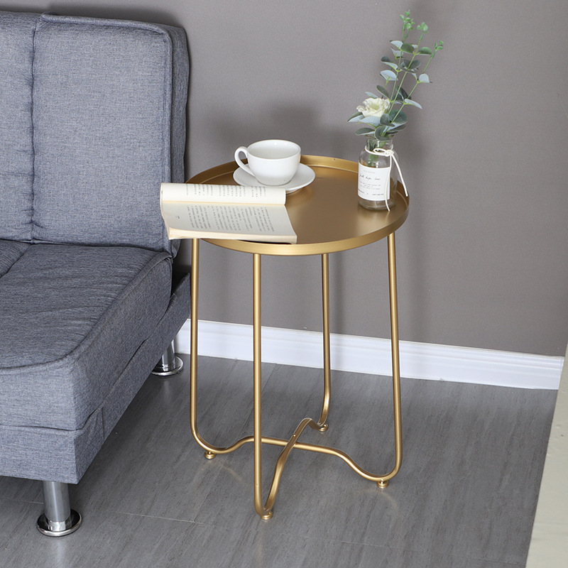 Nordic Golden Iron Foldable Coffee Table Living Room Sofa Side Table Disc Movable Dining Table Small End Table Home Furniture
