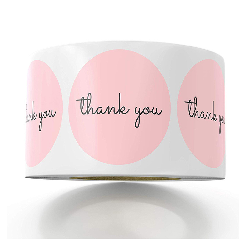 1inch Pink Stickers Thank You Stickers For Company Giveaway &Birthday Party Favors Labels &Mailing Supplies Baking Label Custom
