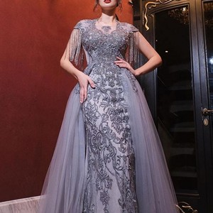 Image 5 - Luxury Evening Dresses Long Scoop Tassel Short Sleeve Beaded Evening Gown Tulle Grey Formal Evening Dress Vestido de Fiesta NE53