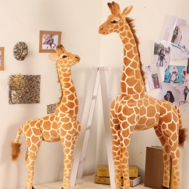 140 см реалистичный жираф, плюшевые игрушки, милые мягкие куклы с животными, мягкая кукла с оленем, высококачественный подарок на день рожден...