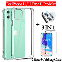 3 en 1 Glass + 360 funda protectora completa Aplle iPhone 11 Pro Airbag Case 11 promax Clear TPU carcasa silicona i phone 11 fundas iphone pro 11 contraportada(China)