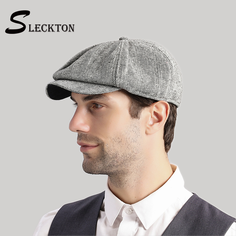 SLECKTON Peaky Blinder Good Quality Tweed Mens Berets Cap For Men Casual Newsboy Caps Fashion Octagonal Hat Visors Casquette