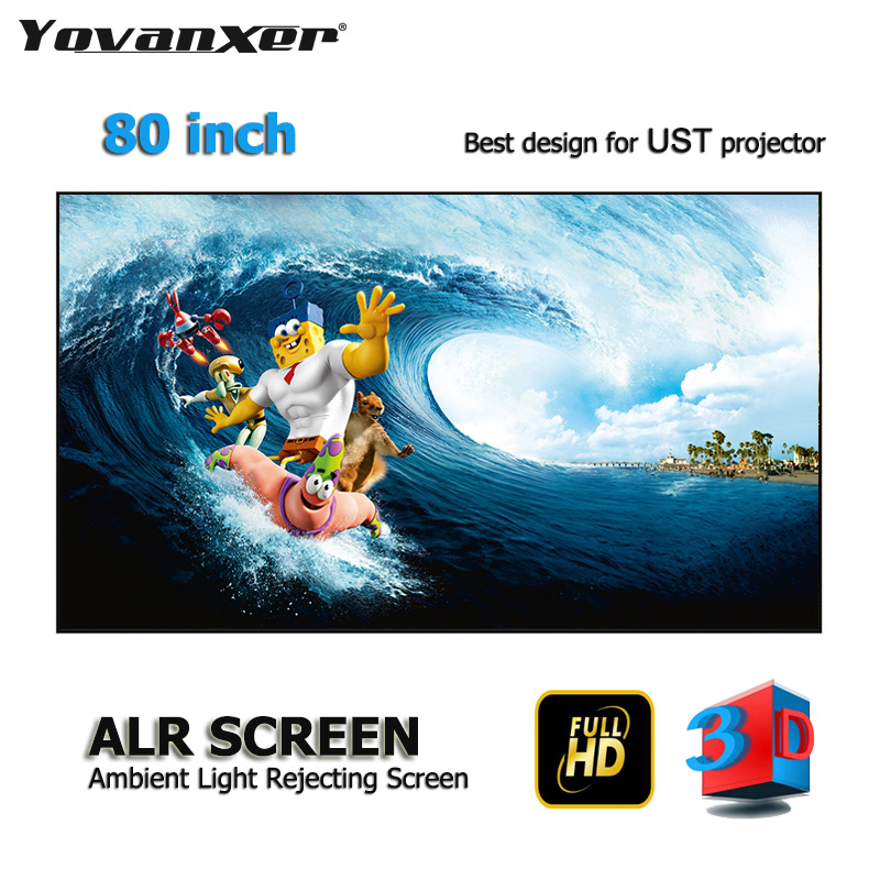 80 Inch Ambient Light Rejecting ALR Projection Screens Ultra-thin Border Frame Specialize For Kinds Of Laser UST Projectors