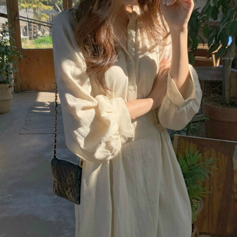 Women Spring Summer Cotton Linen Loose Long Shirt Dress Sashes Vintage Solid Color Long Sleeve Clothing