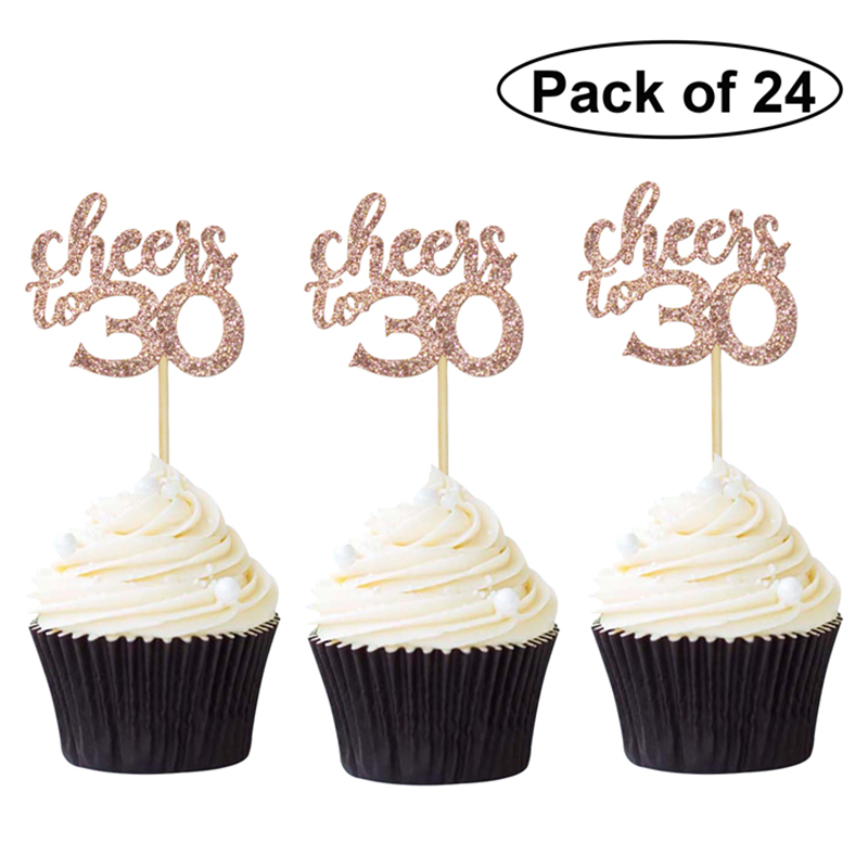 24pcs/bag Rose Gold Cheers 30 <font><b>40</b></font> <font><b>50</b></font> <font><b>60</b></font> Happy Birthday Cupcake Topper Outer Space Deer Rainbow Cupcake Topper Flags Gender Reveal image