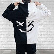Hoodies Sweatshirts Headwear Happy Hip-Hop-Streetwear Print Smiling Face Patchwork Men