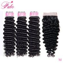 FABC Hair Weaves Closure Deep-Wave Indian with 4--4 130%Density 3/4-Bundles Natural-Black