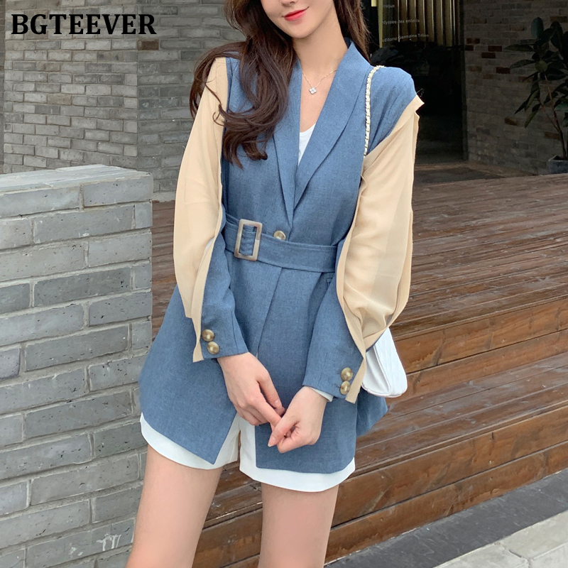 BGTEEVER Elegant Patchwork Loose Women Blazer Jacket Fashion Belted Female Workwear Outwear Elegant Solid Women Suit Jacket 2019