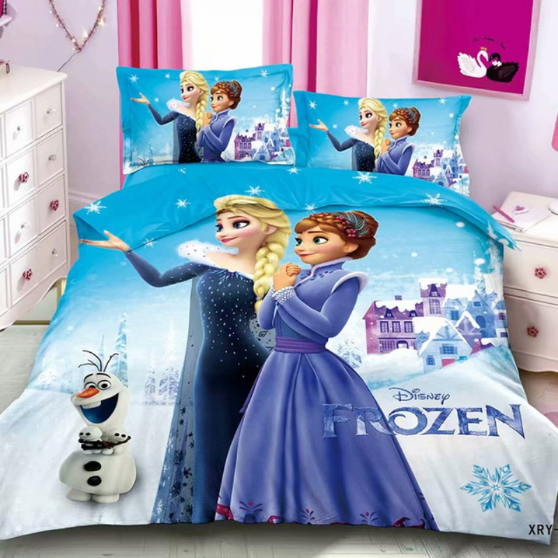 Disney Elsa Anna Princess Frozen 2 Bedding Set Kids Duvet Cover Bed Sheet Pillowcase For Baby Children Boys Girls Birthday Gift