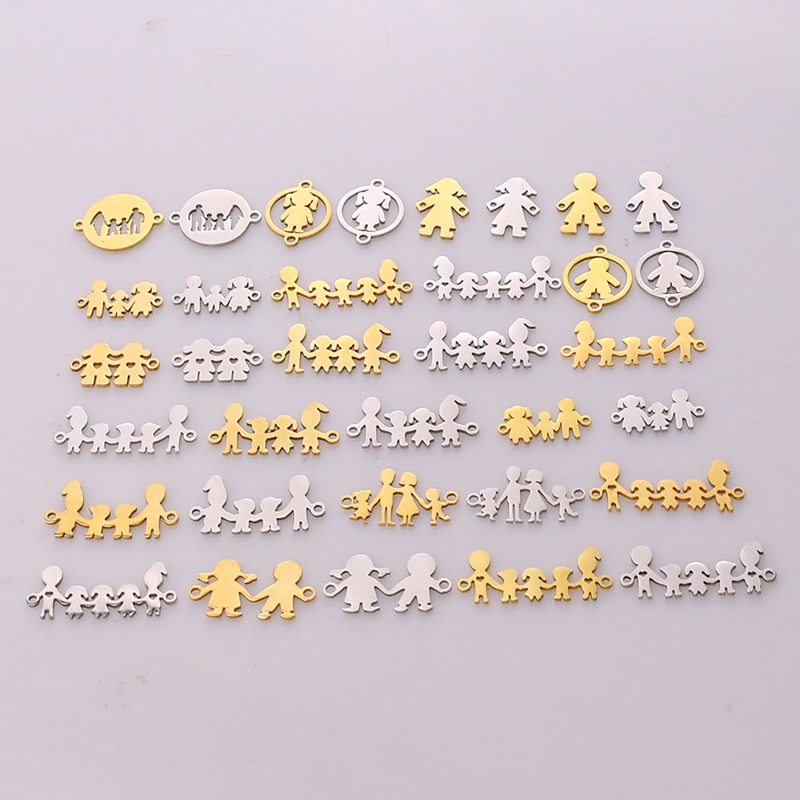 5pcs Family Chain Stainless Steel Pendant Necklace Parents and Children Necklaces Gold/steel Jewelry Gift for Mom Dad New Twice(China)