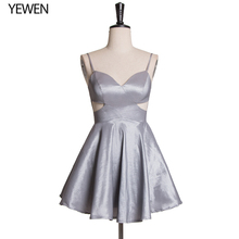 цена на 2020 New Sexy Grey Prom Dress V-Neck Midi bodycon Coctail Party Dress ESBRIDE Real Pictures