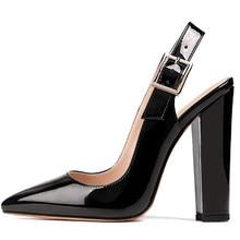 Lovirs feminino salto alto 10 cm pontudo dedo do pé estilingue bloco saltos elegantes confortáveis clássicos sapatos de casamento de escritório