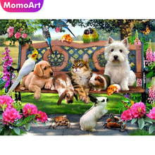 MomoArt Diamond Embroidery Cartoon Painting Full Drill Square/round Mosaic Dog Cross Stitch Cat