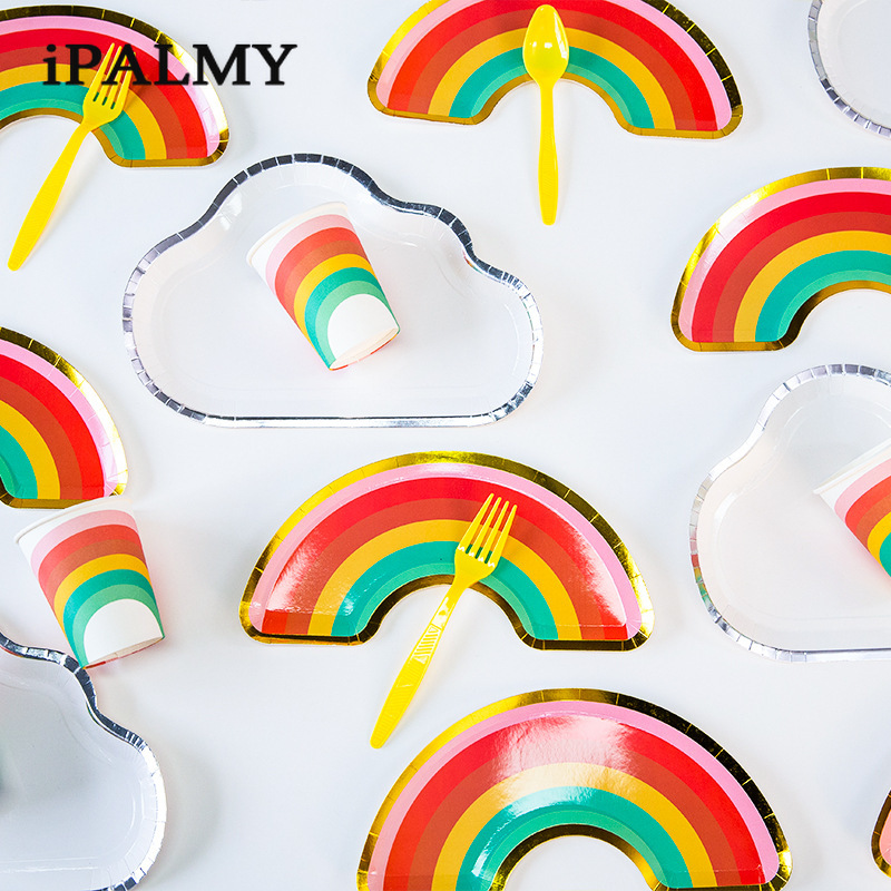 118pcs White Cloud Rainbow Shaped Paper Plates Disposable Tableware Dessert Plates For Birthday Wedding Party Supplies