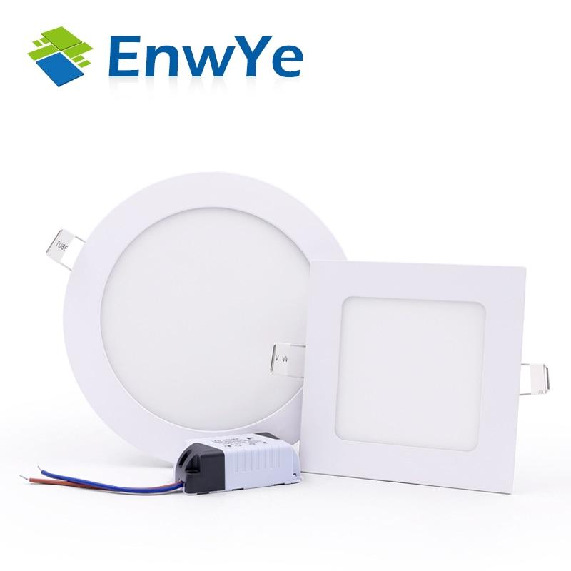 EnwYe Ultra Thin Led Panel Downlight  3W 4W 6W 9W 12W 15W 18W 24W  LED Ceiling Recessed Light AC85-265V LED Panel Light