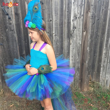 Павлина для девочек, повязка на голову с декоративным бантом длинный след для маленьких девочек Пышное платья для выпускного вечера, фон для детской фотосъемки с изображением праздничного костюма пышное платье, женские платья, одежда