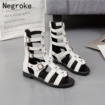 Sexy Flats Shoes Women Sandals Gladiator Beach Shoes Ladies Sandals Leather Buckle Shoes Woman Chaussures Flat Sandals women new design white leather lace up mix color ball design thick heel sandals gladiator sandals ladies beach sandals