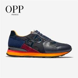 OPP Scarpe Da Strada Scarpe Da uomo di Grandi Dimensioni uomini di Modo Camouflage Lace-up Casual Scarpe Comode scarpe di Cuoio Genuini scarpa da tennis