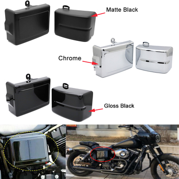 Motorcycle Battery Cover Guard Left Right Side Frame Protector For Harley Dyna Fat Street Bob Super Glide Wide Glide Switchback