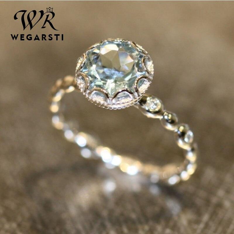 WEGARSTI Genuine Blue Topaz Ring 925 Sterling Silver Rings For Women Halo Engagement Ring Gemstones Fine Jewelry Wholesale
