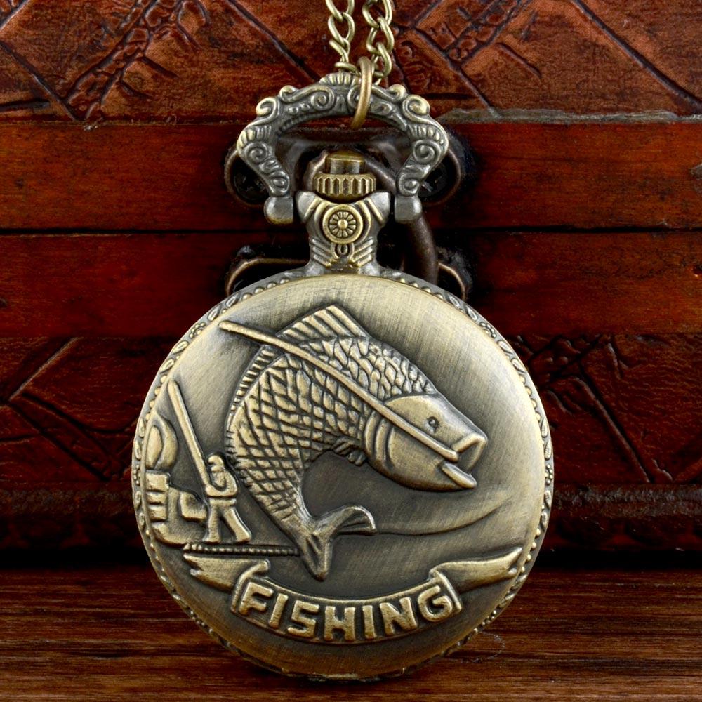 Vintage Bronze Fishing Quartz Pocket Watch Chains Antique Men Women Casual  Pendant Necklace Clock Gift