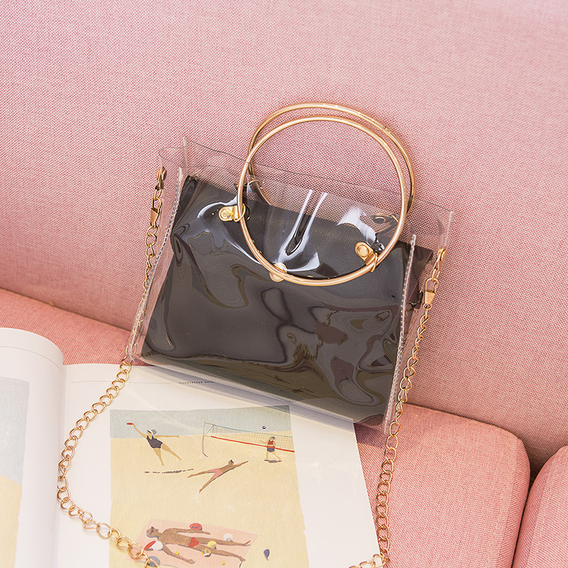 2019 Design Luxury Handbag Women Transparent Bucket Bag Clear PVC Jelly Small Shoulder Bag Female Chain Crossbody Messenger Bags
