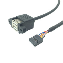Motherboard Internal 9Pin 9P to double 2 Port USB 2.0 A Female Panel Mount DATA Cable 30cm 50cm