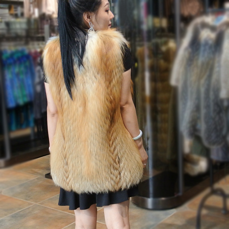 100 Imported real velvet mink fur coat pocket Real Fox Fur Vest Natural full pelt Fox Fur Vest Women Covered Jackets Coat in Real Fur from Women 39 s Clothing