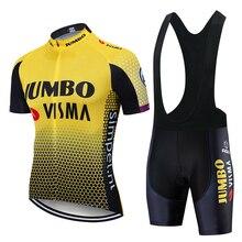 2019 Pro Team Jumbo Visma bisiklet Jersey seti erkek bisiklet Maillot MTB yarış Ropa Ciclismo yaz Hombre Roupa bisiklet giyim