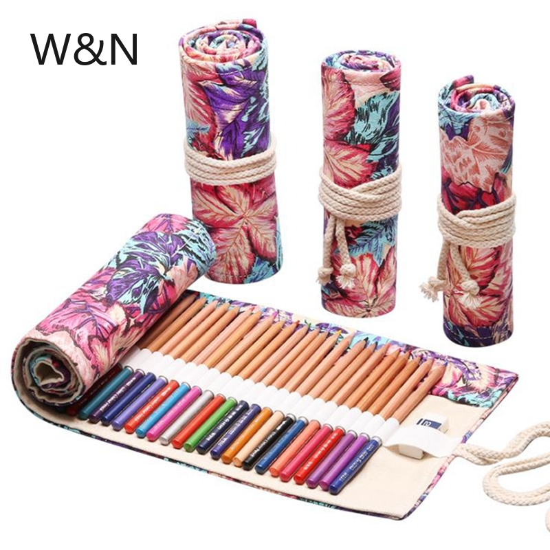 12/24/36 Holes Kawaii School Pencil Case Roll Pencil Case for Girls Boys Canvas Large Pen Bag Pencil Box Stationery Pouch Box