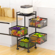Kitchen Bathroom Multi-layer Storage Box Organizer Rotation Food Basket Clothes Sundries Toys Storage Holder Shelves with Wheels