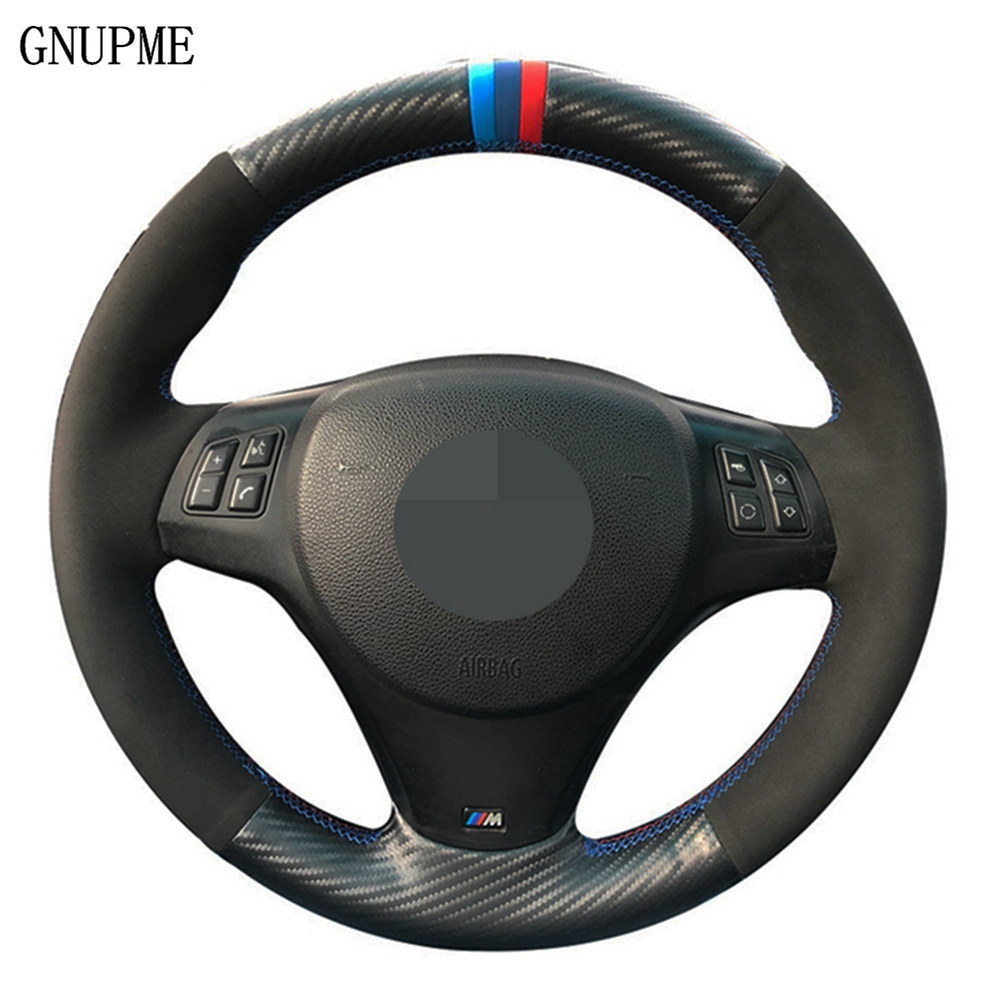 DIY Black Carbon fiber Suede Car Steering Wheel Cover For BMW M Sport M3 E90 E91 E92 E93 E87 E81 E82 E88 image
