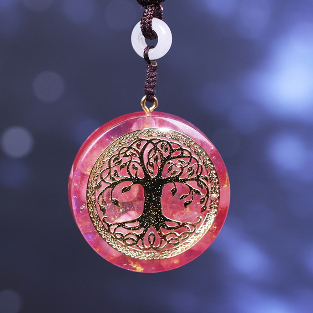 Orgone Pendant Tree Of Life Energy Orgonite  Necklace Pink Crystal Healing Resin Jewelry Dropshipping