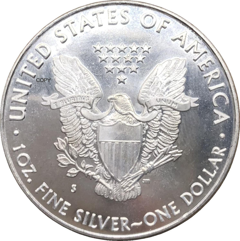 1 доллар США, американский Серебряный Орел, слиток, монета 1988, 1988 S, покрытая серебром, памятная монета, копия монеты