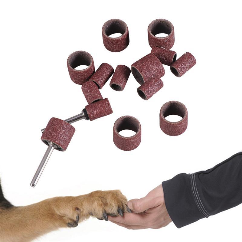 12pcs Grooming Sanding Bands Sanding Band Drum Grit Sandpaper + 2 Mandrel For Nail Drill Bits Abrasive Tools Dremel Accessories