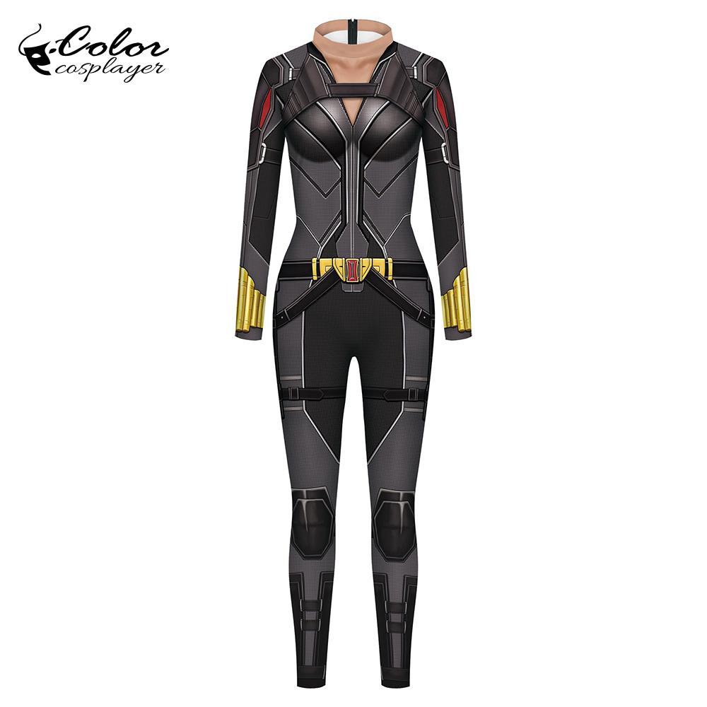 Color Cosplayer Black Widow Cosplay Costume For Woman Purim Carnival Tight Suit Sexy Long Slleve Bodysuits Party Clothes XL Size