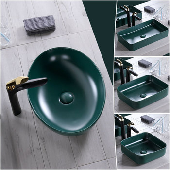 Green Oval Basin Sink Bathroom Accessories Ceramic Basin Countertop Sinks Wash Hand Basins Without Facuet Bathroom Sink kemaidi new arrival bathroom faucet round paint golden bowl sinks vessel basins washbasin ceramic basin sink