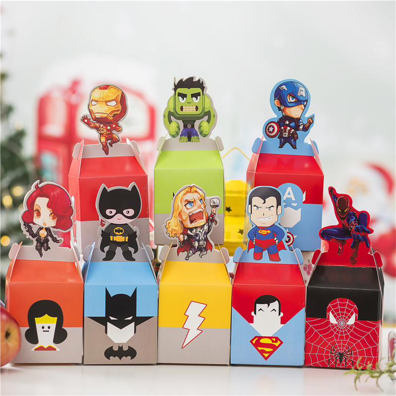 Avenger Candy Boxes High-quality Paper Cartoon Spiderman Batman Hulk Superhero Kids Favor Birthday Party Decor Supplies Gift Box