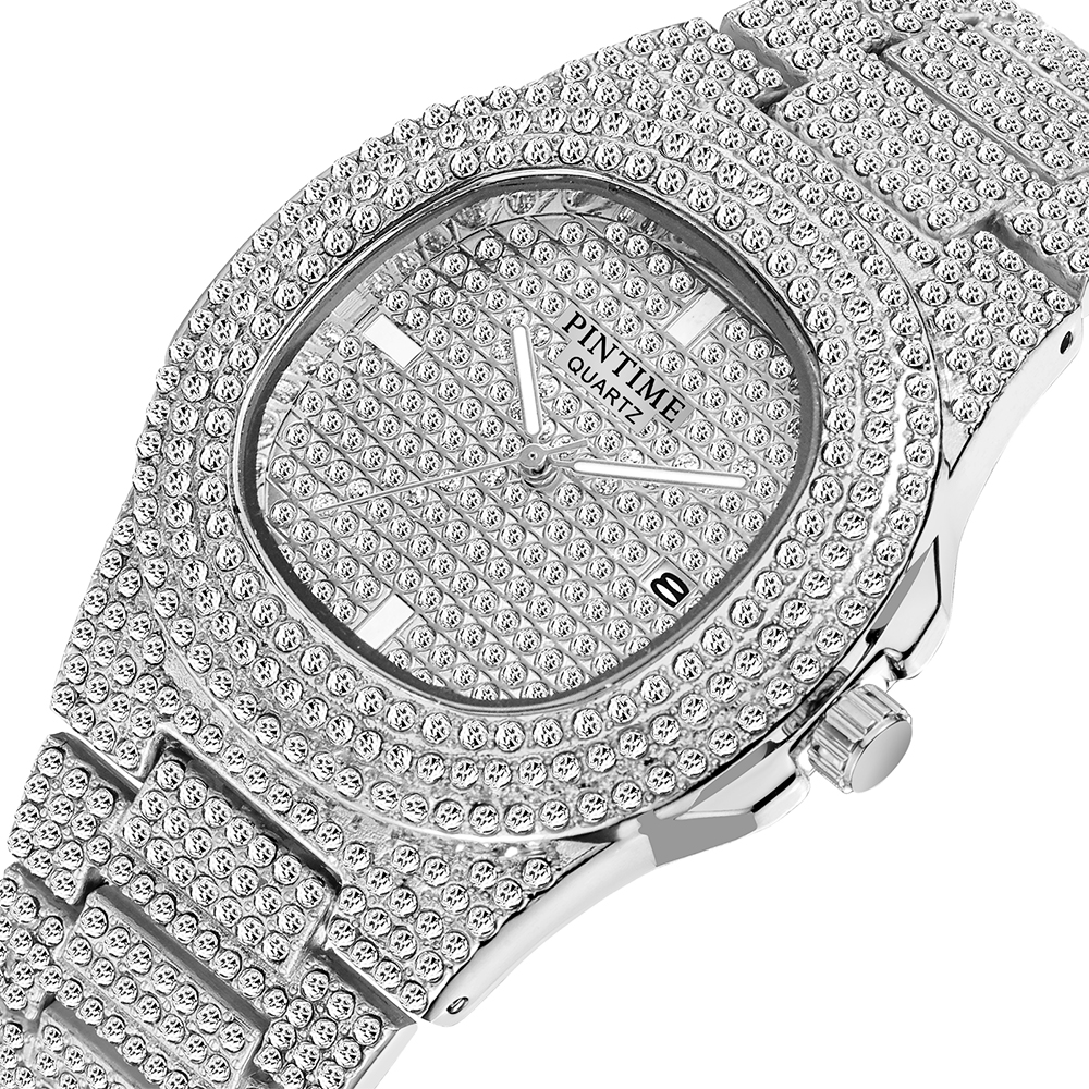 Drop Shipping Diamond Iced Out Watch Men HIP HOP Quartz Gold Mens Watches Top Brand Luxury Steel Male Clock Relogio Masculino