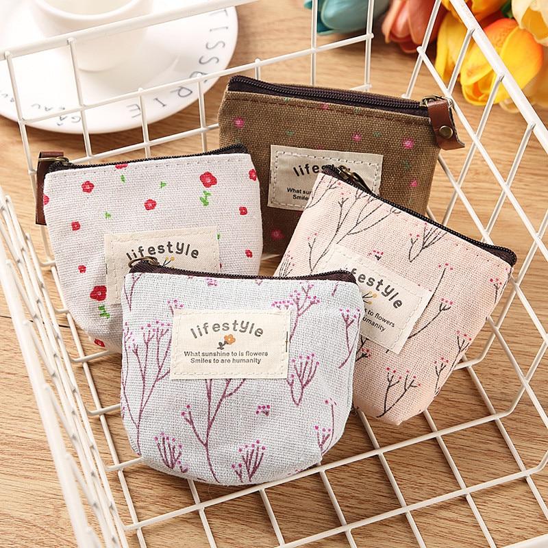 2019 New Coin Clutch Purse Change Pocket Lipstick Bag Handbag Cards Keys Headset Package Flower Petal Printing Cotton Children