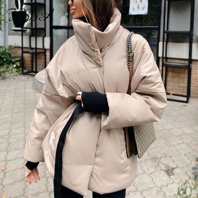 FSDA automne hiver femmes manteau veste Parkas chaud avec ceinture décontracté 2020 poche ample bulle kaki ceintures courtes vestes épais 2