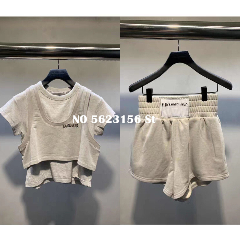 Cotton 2 Piece Set Women Casual O-Neck Short Letter Print Tops Tshirt And Shorts Luxury Women Two Piece Outfits High Quality