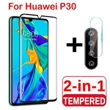 2 en 1 Protector de pantalla de vidrio Protector completo para Huawei P30 lite Pro Cámara lente película de vidrio templado en Huawei P30 Lite