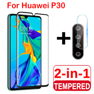 2 in 1 Screen Protector Full Protective Glass For Huawei P30 lite Pro Back Camera Lens film Tempered Glass On Huawei P30 Lite(China)